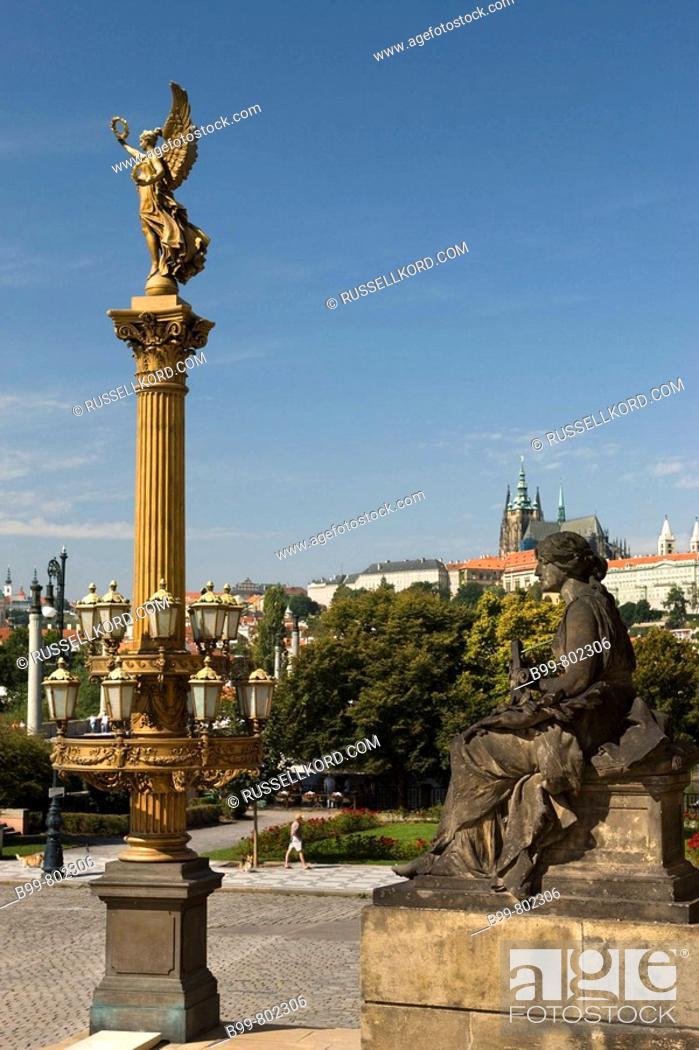 Stock Photo: Golden Muse Column Rudolfinum Concert Hall Old Town Stare Mesto. Prague. Czech Republic.