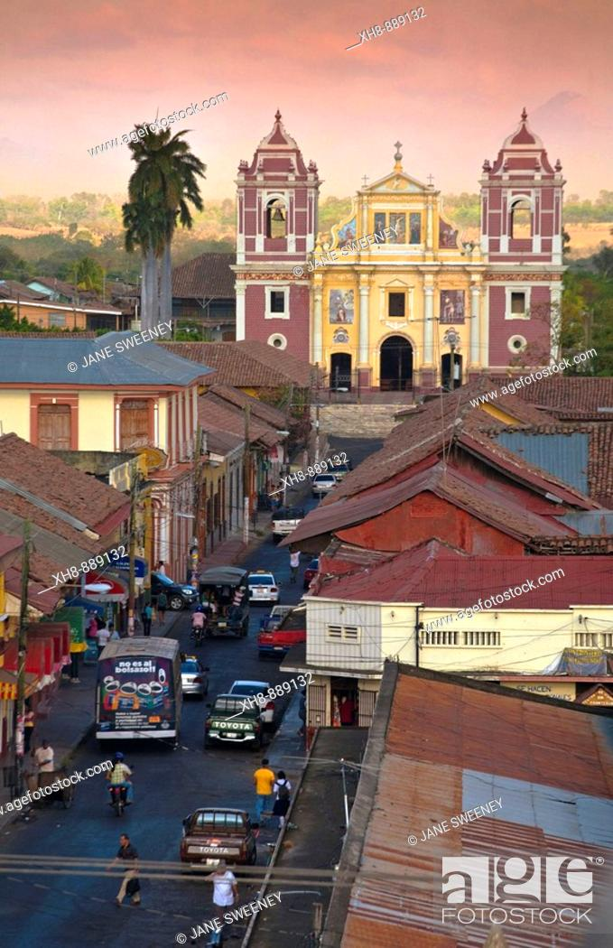 Stock Photo: View from cathedral looking across rooftops towards El Calvario church, Leon, Nicaragua.