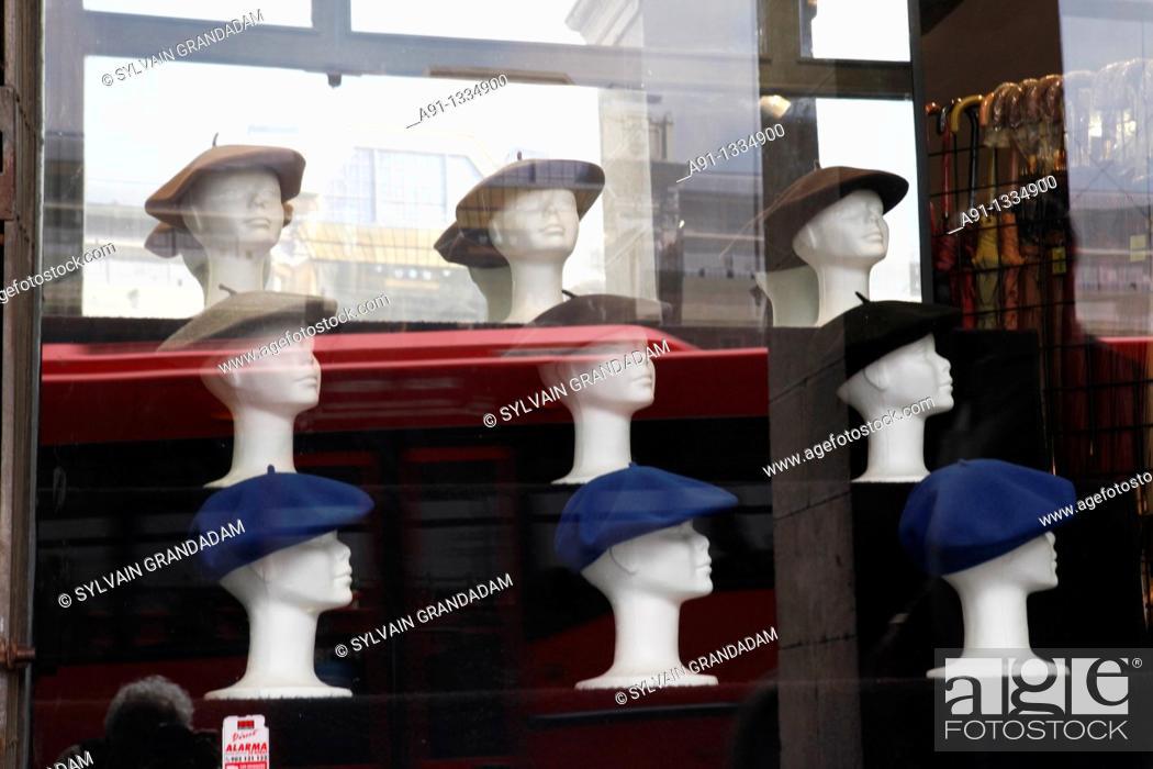 Stock Photo: Spain, Basque Province Euskadi, Bilbao, the old town, basque berets shop.