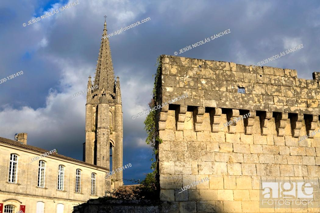 Stock Photo: Belfry of Monolithe church, in Saint Emilion, town listed as World Heritage by UNESCO  Libourne district, Gironde department, Aquitania region  France.