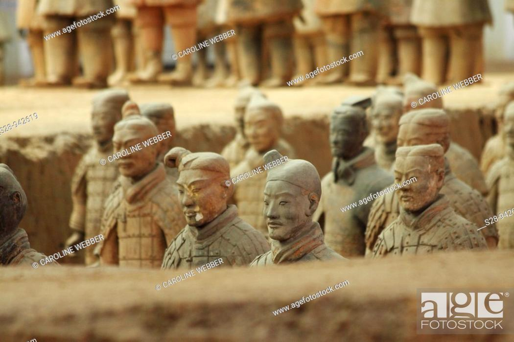 Stock Photo: Excavations of the Terra Cotta Warriors in Xi'an China.