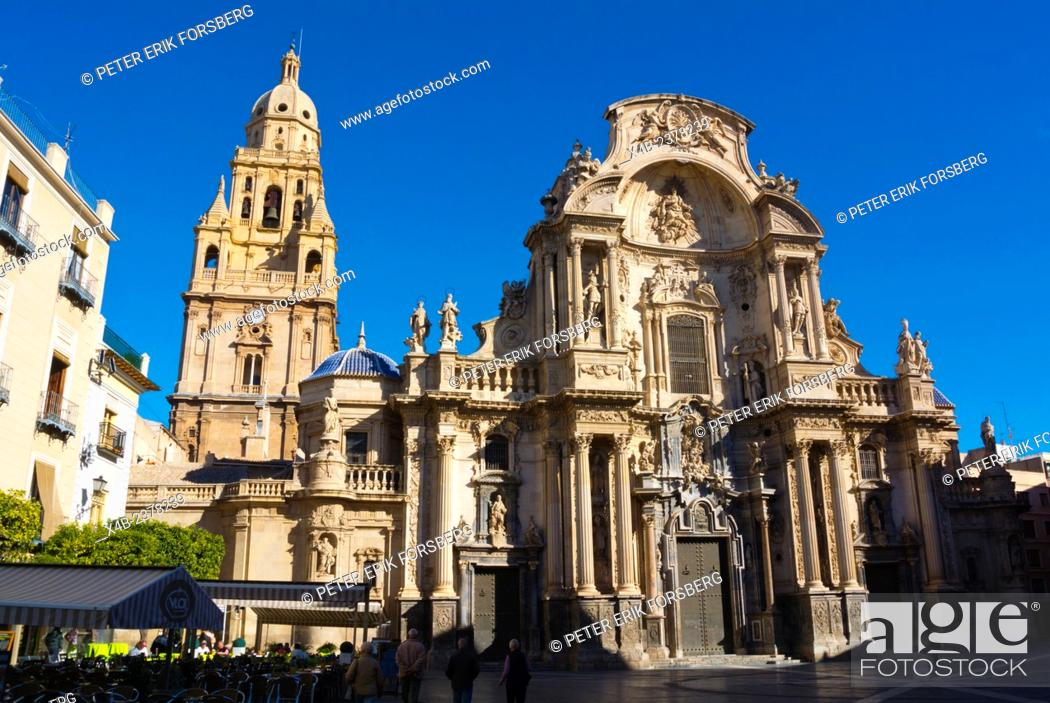 Stock Photo: Catedral, the Cathedral church, Plaza del Cardenal Belluga square, old town, Murcia, Spain.