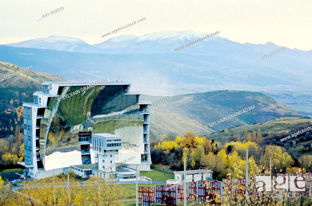 Stock Photo: Solar furnace. Odeillo. Pyrenees-Orientales, Languedoc Roussillon. France.