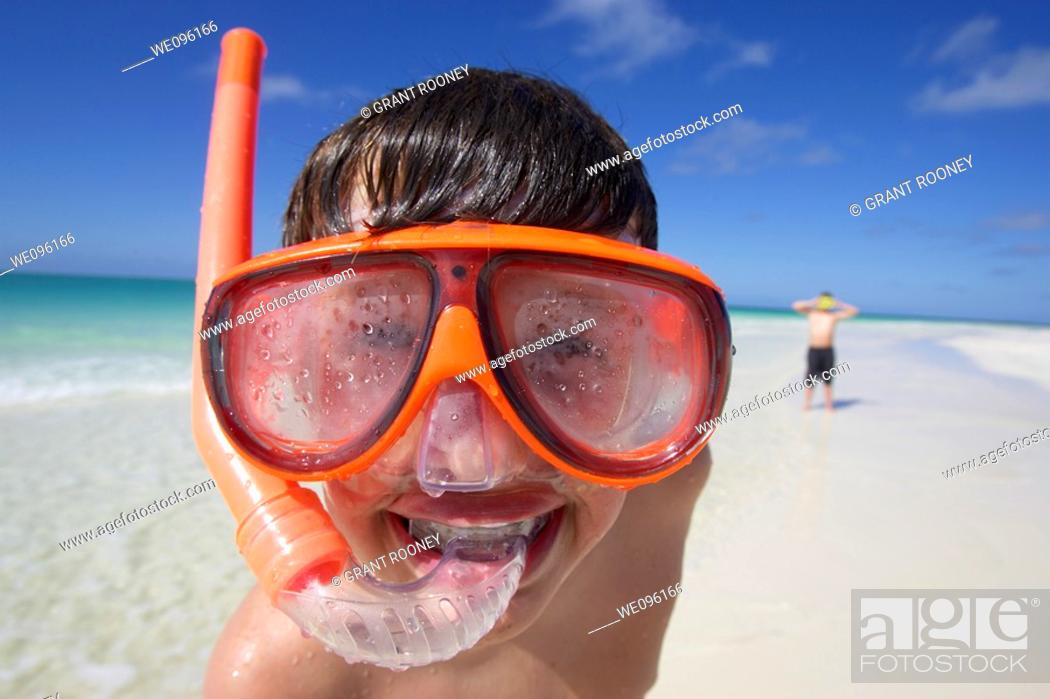Stock Photo: Happy Boy wearing snorkel, Playa Pilar, Cayo Guillermo, Cuba.
