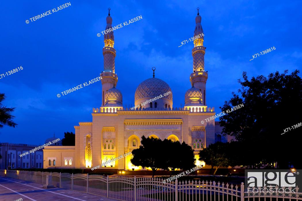 Stock Photo: The Jumeirah Grand Mosque illuminated at night in Dubai, UAE.