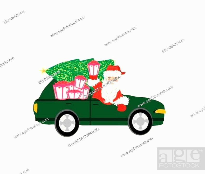 Stock Vector: illustration of Santa Claus driving car with Christmas gift.