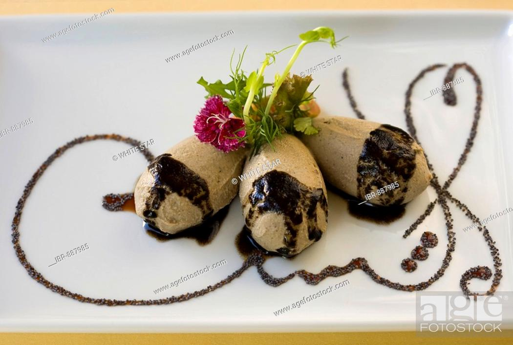Stock Photo: Partridge and fowl terrine with black olive puree, in the restaurant of the Parador Hotel in Ronda, Andalusia, Spain, Europe.