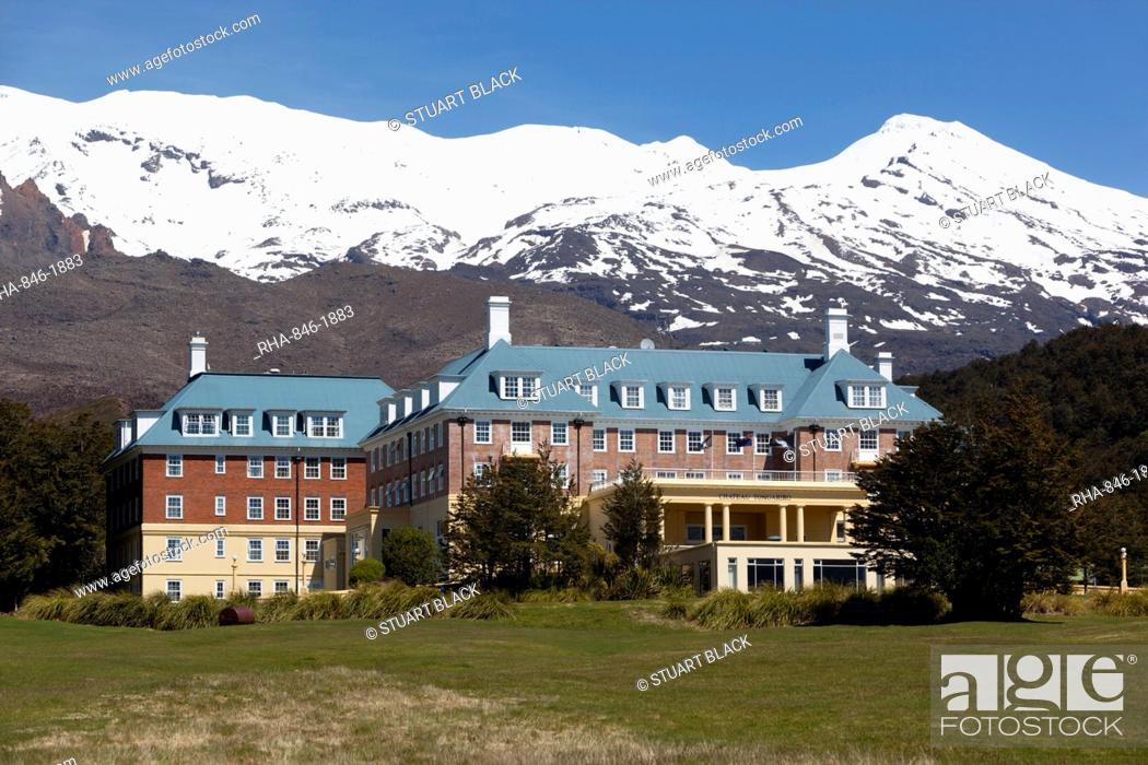 Stock Photo: Chateau Tongariro hotel and Mount Ruapehu, Tongariro National Park, UNESCO World Heritage Site, North Island, New Zealand, Pacific.