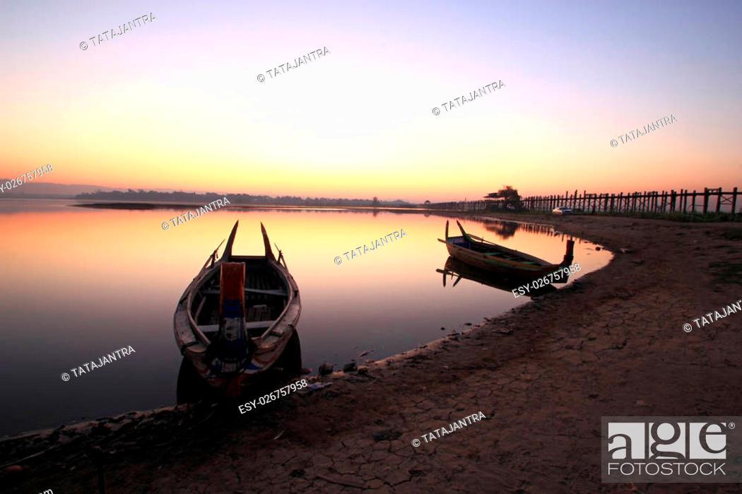 Stock Photo: beautiful morning of marina at U-Bein bridge, Mandalay in Myanmar.