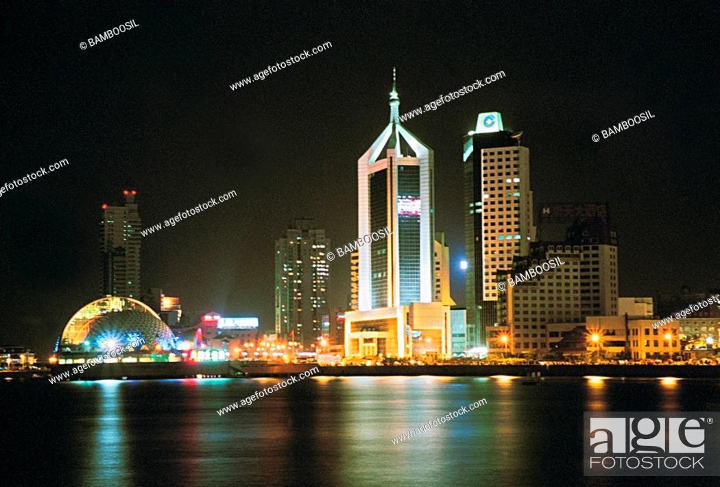 Stock Photo: Night skyline of Zhan Bridge Park, Qingdao City, Shandong Province of People's Republic of China.