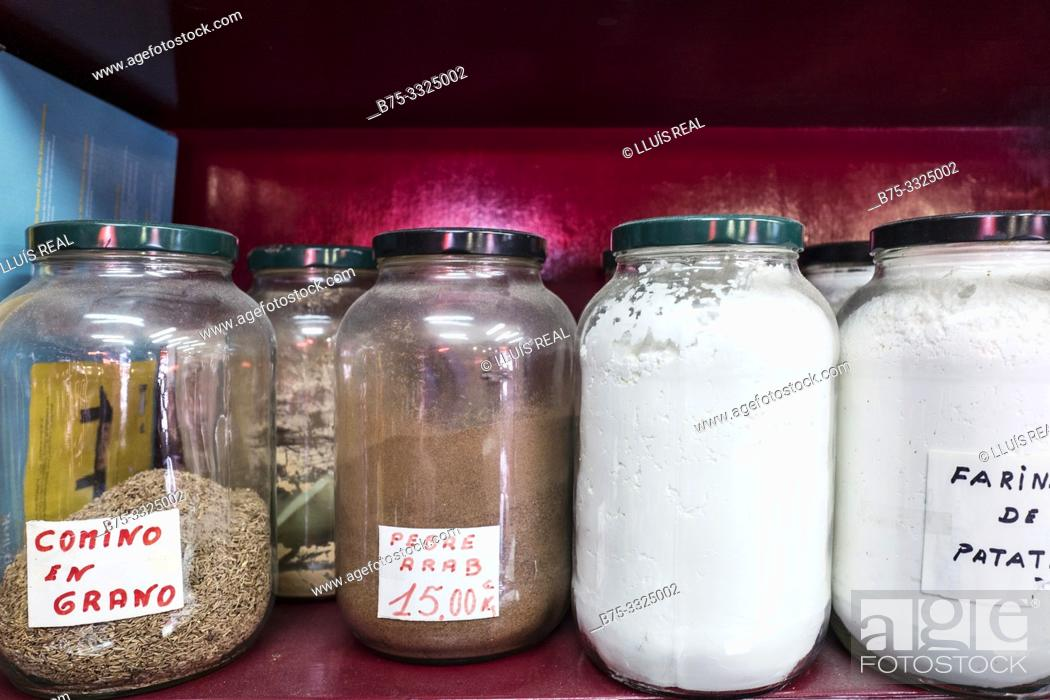 Stock Photo: Jars of species on a shelf. Mahon, Baleares, Spain, Europe.