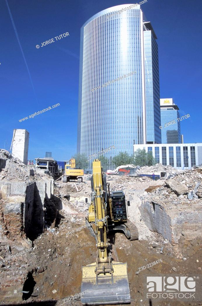 Stock Photo: Bulldozer in a business area of Frankfurt, Germany.