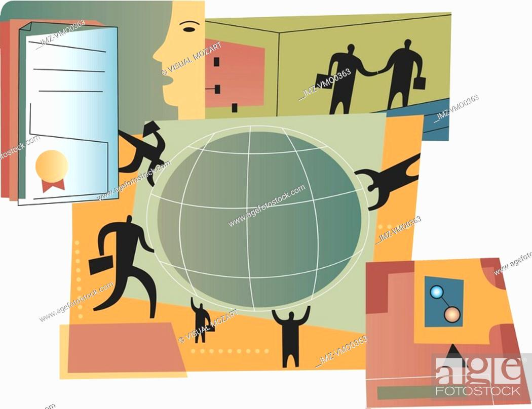 Stock Photo: International business deal and contract, montage.
