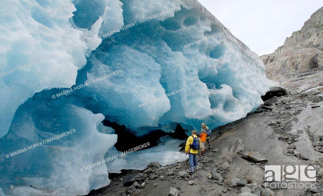 Stock Photo: Breaking point, Grosser Aletschgletscher Aletsch Glacier, UNESCO world natural heritage, Switzerland, Europe.