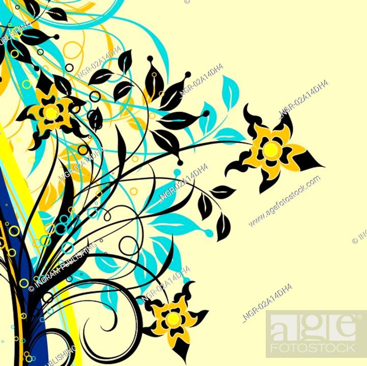 Stock Photo: Floral abstract background, vector.