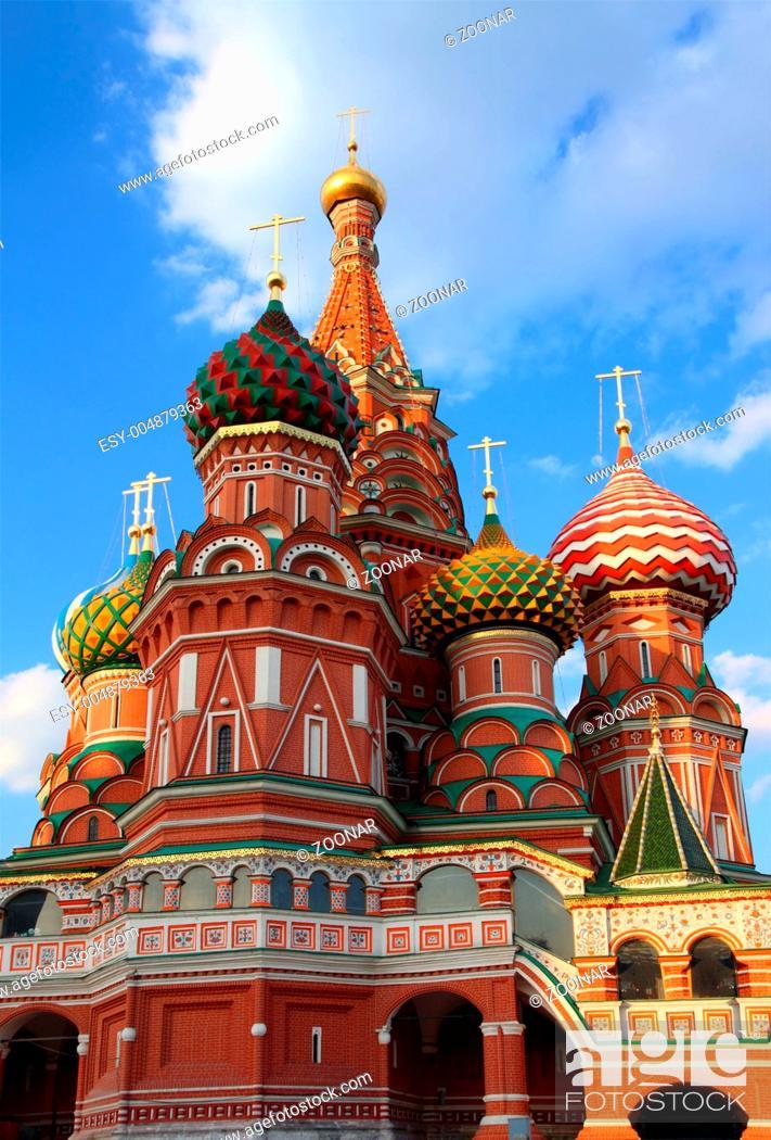 Stock Photo: Towers of Vasiliy Blazhenniy church.