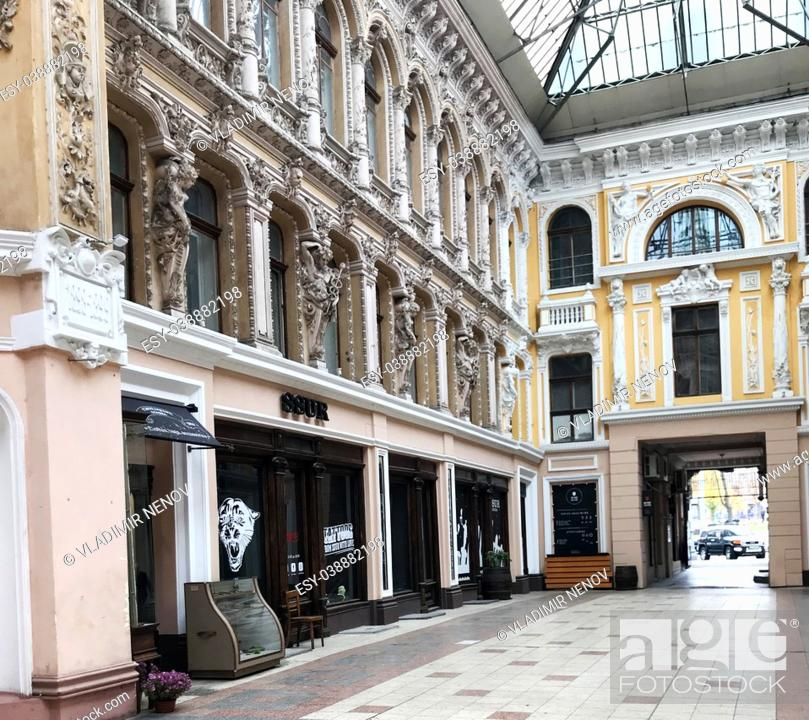 Stock Photo: Odessa, Ukraine: The Passage is a hotel and a mall, an architectural masterpiece of the end of the 19th century located on the corner of Deribasovskaya and.
