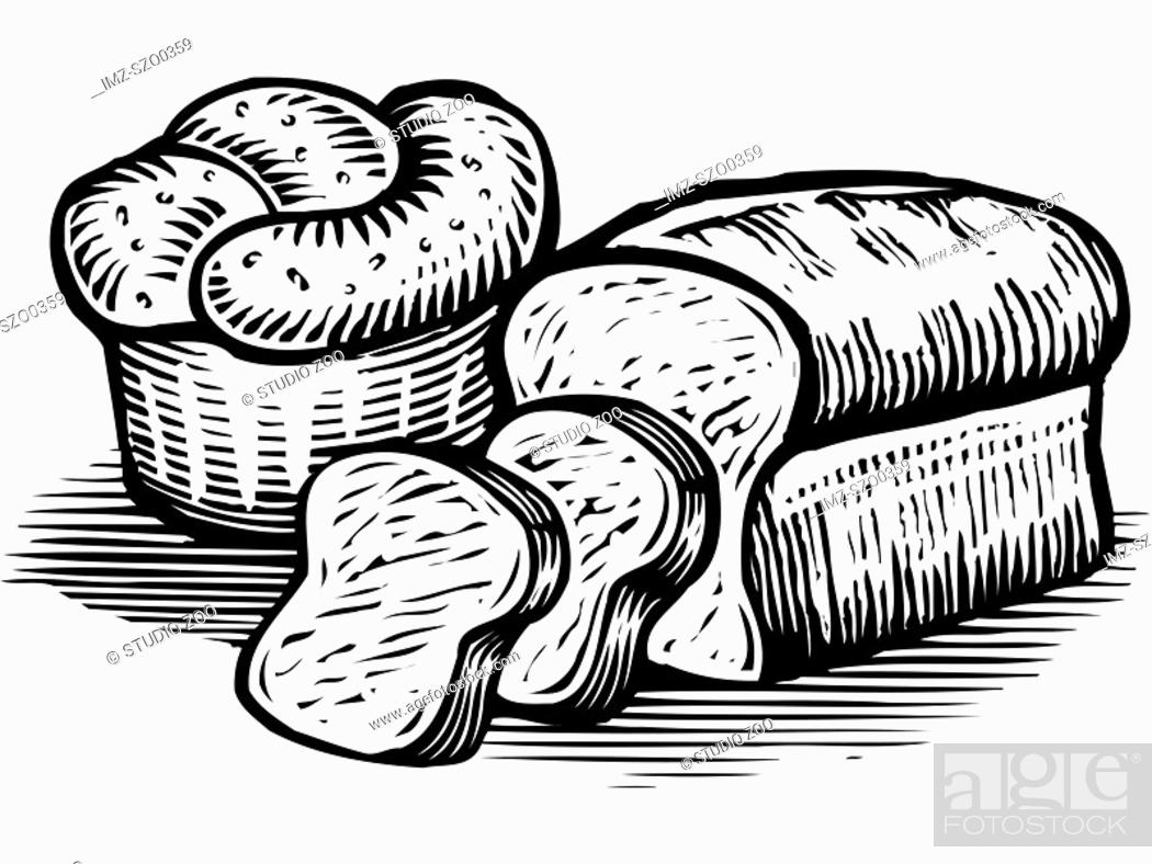 Stock Photo: A drawing of loaves of bread illustrated in black and white.