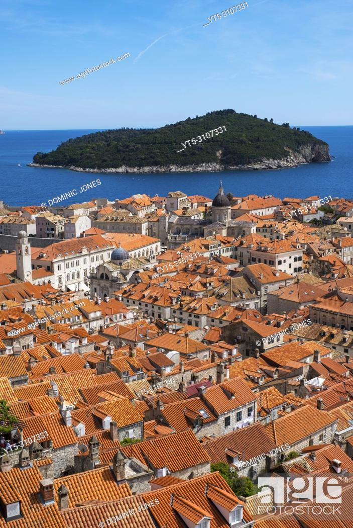 Stock Photo: The rooftops of Dubrovnik's Old Town, Dubrovnik, Croatia, Europe.