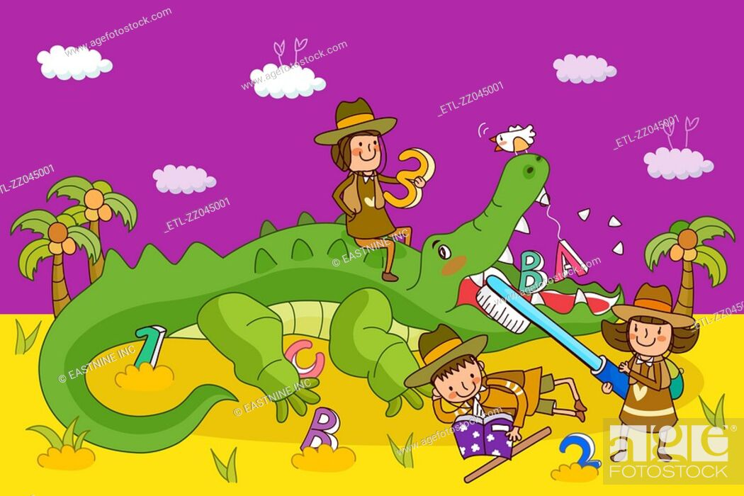 Stock Photo: Two girls and a boy playing with a crocodile.