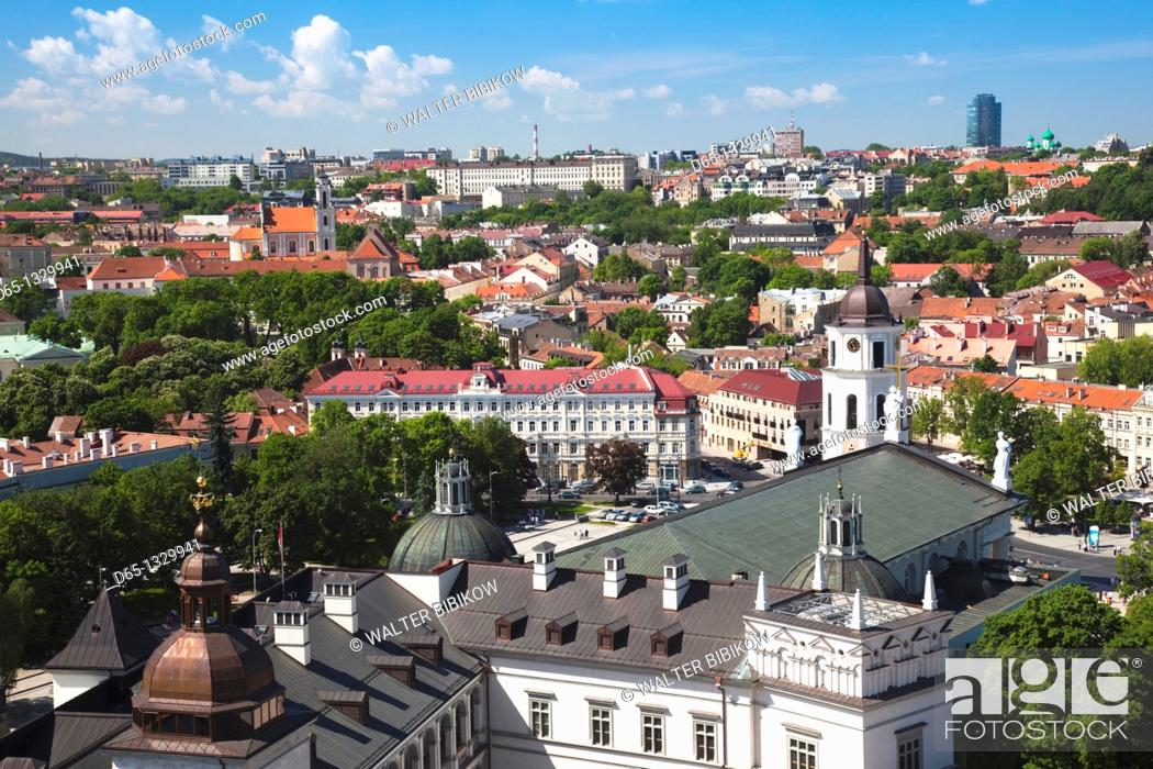 Stock Photo: Lithuania, Vilnius, elevated view of Royal Palace from Gediminas Hill.