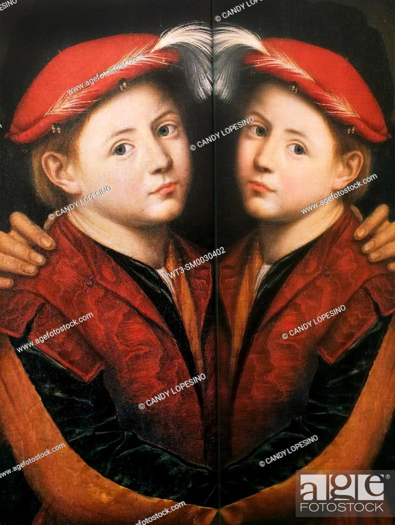 Stock Photo: Children in Art, portrait of boy with red hat painted by Bernardino Licinio in the year 1532, on dark background reflected in a mirror.