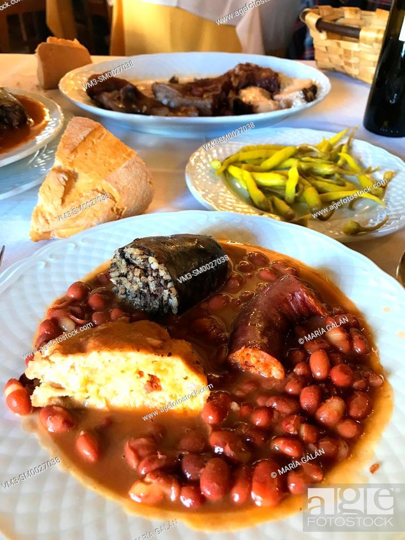 Stock Photo: Olla podrida, traditional beans stew. Covarrubias, Burgos province, Spain.