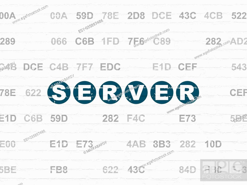 Stock Photo: Web development concept: Server on wall background.