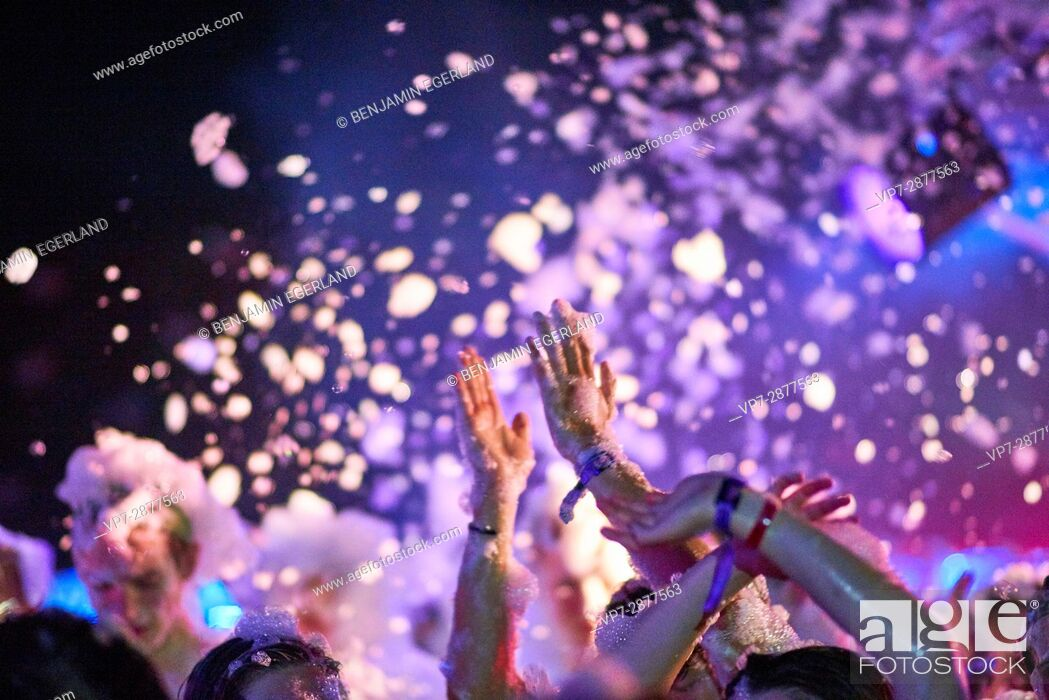 Stock Photo: Hands and foam at music festival in party destination.
