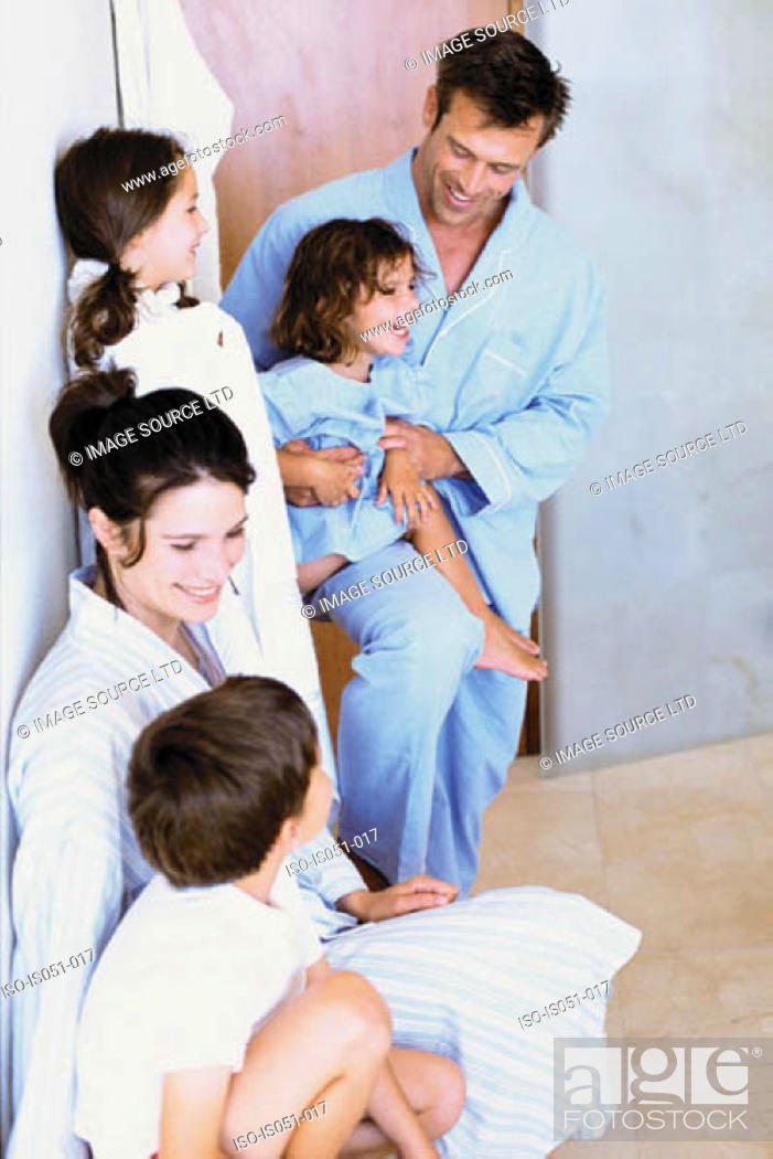 Stock Photo: Family having fun in the bathroom.