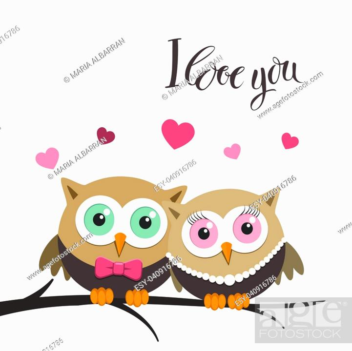 Vector: Couple of owls in love on a white background and message. Vector illustration.