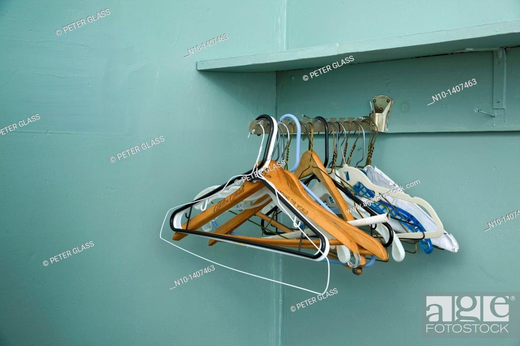 Stock Photo: Empty clothes hangers.