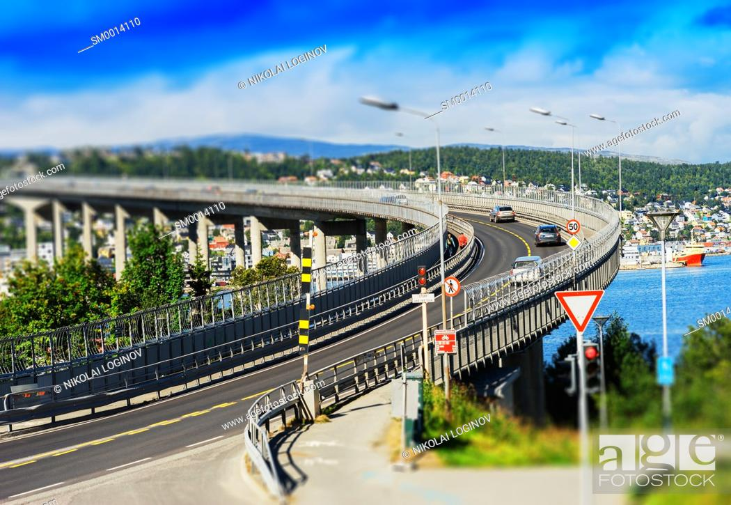 Stock Photo: Tromso lacet transport bridge tilt-shifted background hd.