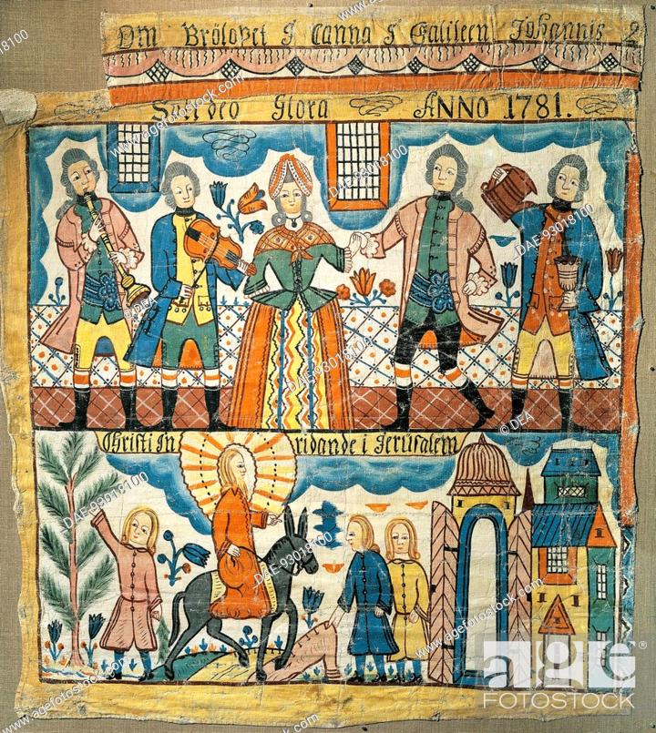 Stock Photo: Wedding at Cana and Christ's entry into Jerusalem, 1781, by Per Nilsson (1741-1820), carpet.  Stockholm, Musikmuseet (Music Museum).