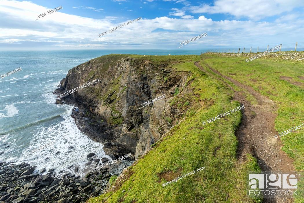 Stock Photo: Pen Porth Egr seen from Pembrokeshire Coast Path from Abereiddy to Porthgain, Pembrokeshire Coast National Park, Abereiddy, Wales, United Kingdom, Europe.