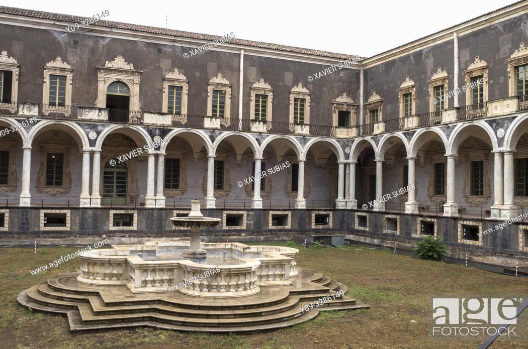 Stock Photo: Cloister of the Monastery Benedictine, Catania, Sicily, Italy.