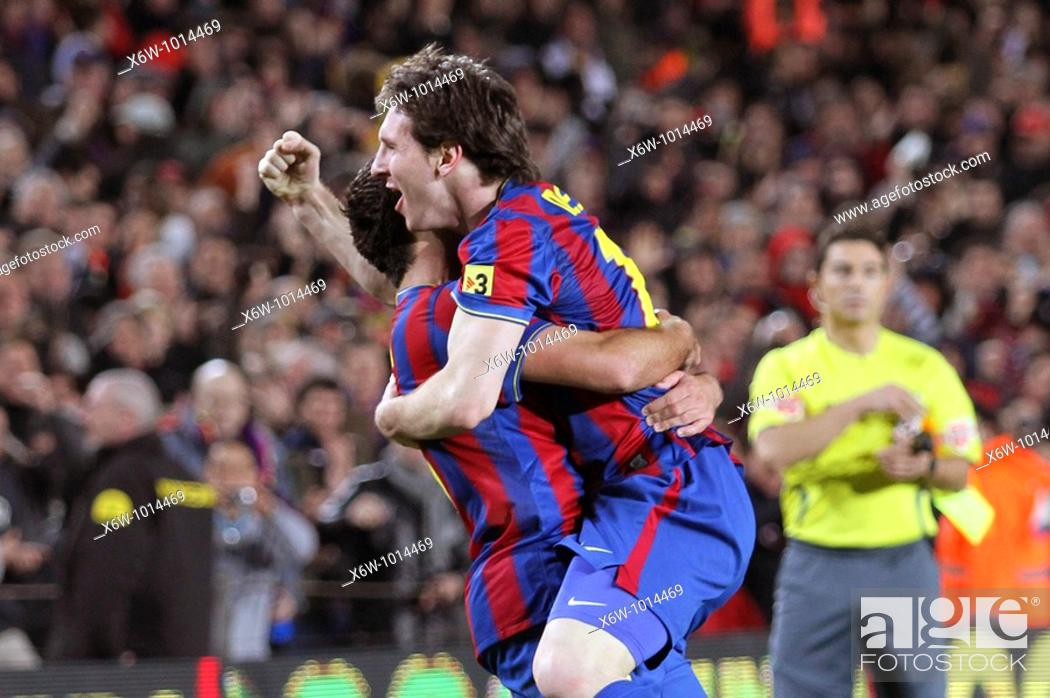 Stock Photo: Barcelona, Camp Nou Stadium, FC Barcelona, Leo Messi and Xavi Hernández celebrate a goal, 2010.