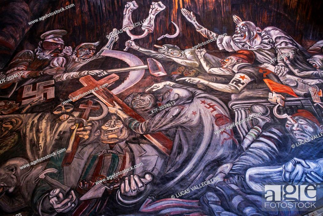 Detail Of Hidalgo Mural Painting By Jose Clemente Orozco Over The