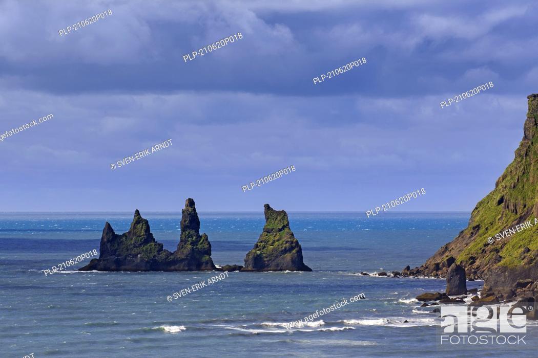 Stock Photo: Reynisdrangar, basalt sea stacks near the village Vík í Mýrdal in summer, southern Iceland.