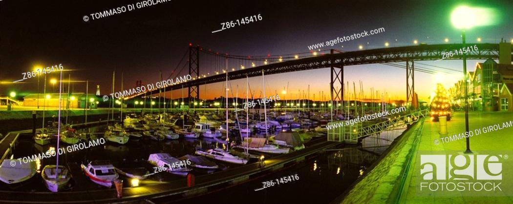 Stock Photo: 25th of April Bridge. Lisbon. Portugal.