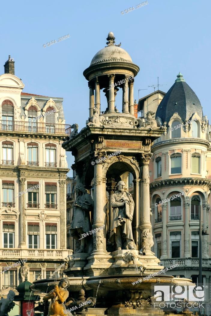 Stock Photo: Statue of the Jacobins in old Town UNESCO World Heritage Site, Lyon, France, Europe.
