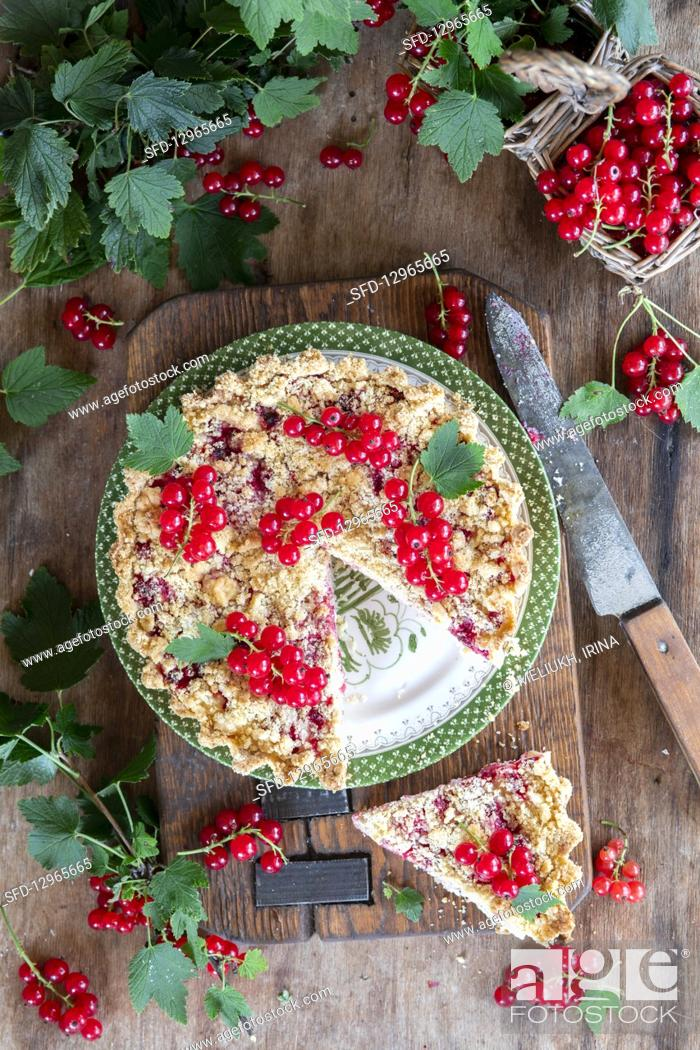 Photo de stock: Currant streusel cake with quark filling.