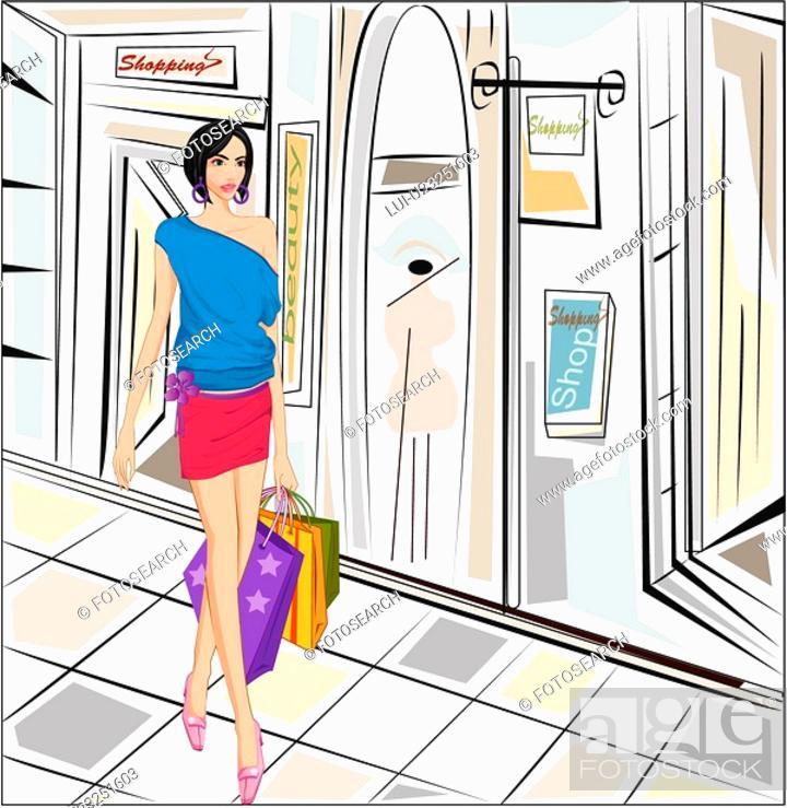 Stock Photo: lady, fashion, girl, shoes, cap, shop.
