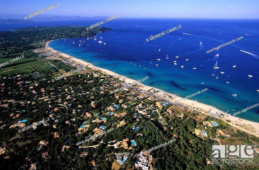 Stock Photo: France, Var, Presqu'ile de Saint Tropez, Pampelonne beaches aerial view.