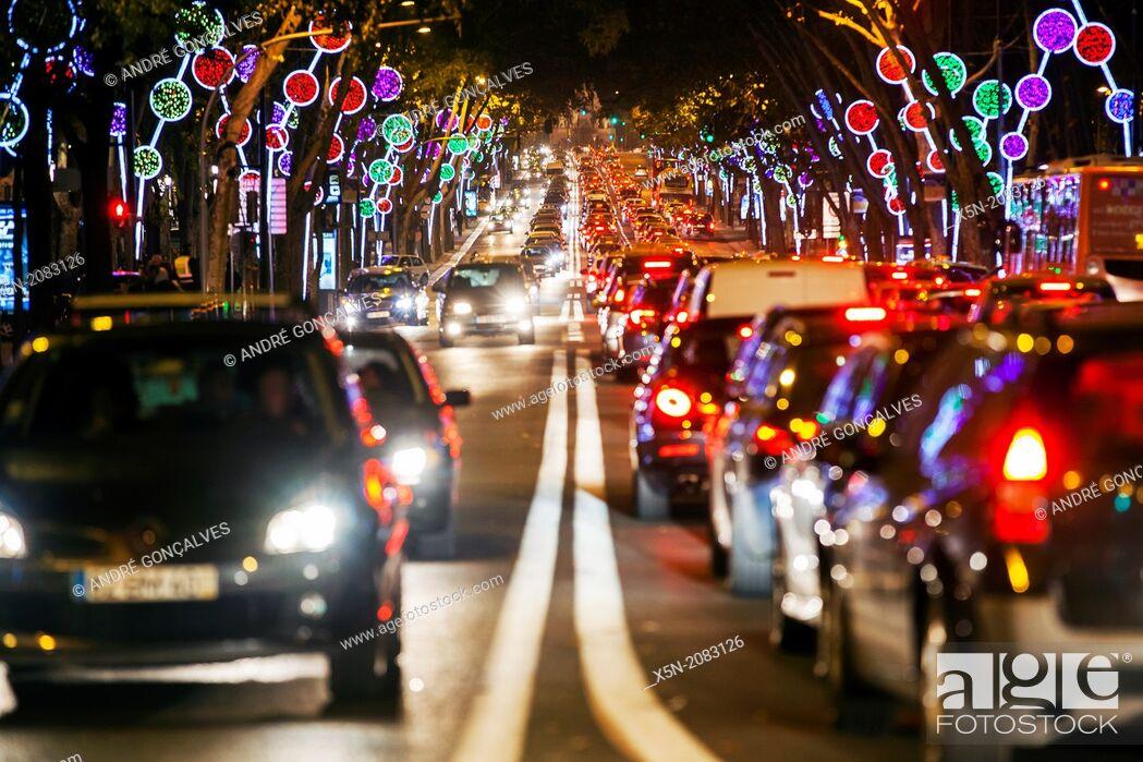 Stock Photo: Christmas Lights in the Avenida da Liberdade, Lisbon, Portugal, Europe.