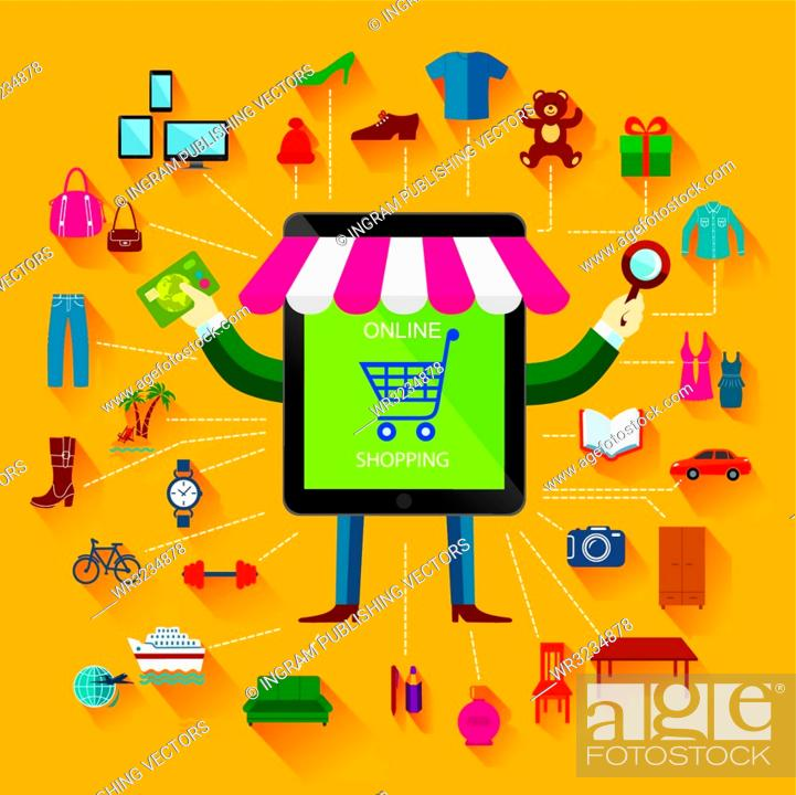 Vector: Online shopping and business. Conceptual background. Set of flat icons and design elements.