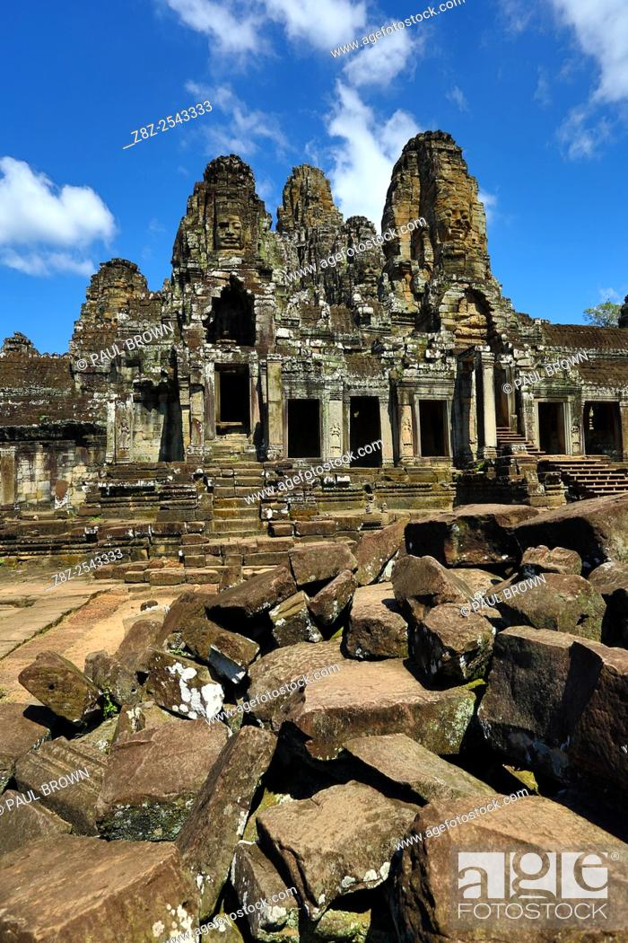 Stock Photo: Bayon, Khmer Temple in Angkor Thom, Siem Reap, Cambodia. Built in the late 12th / early 13th century as the official state temple of the Mahayana Buddhist King.