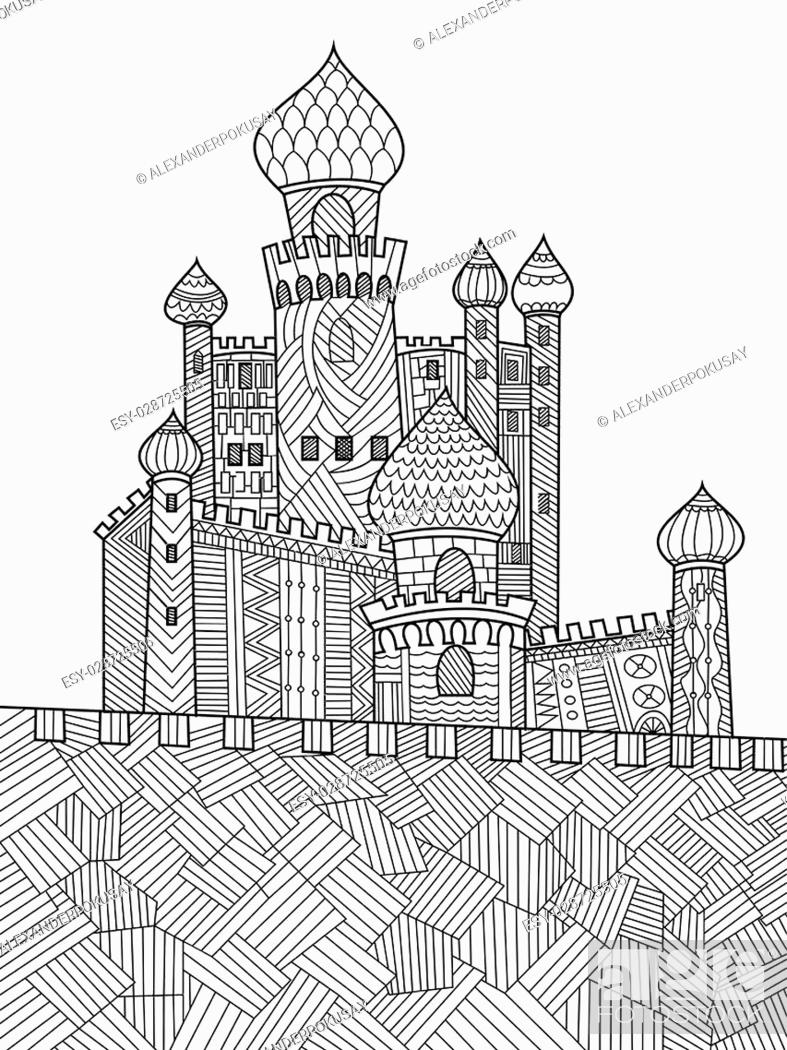 - Medieval Castle Coloring Book For Adults Vector Illustration, Stock Vector,  Vector And Low Budget Royalty Free Image. Pic. ESY-028725505 Agefotostock