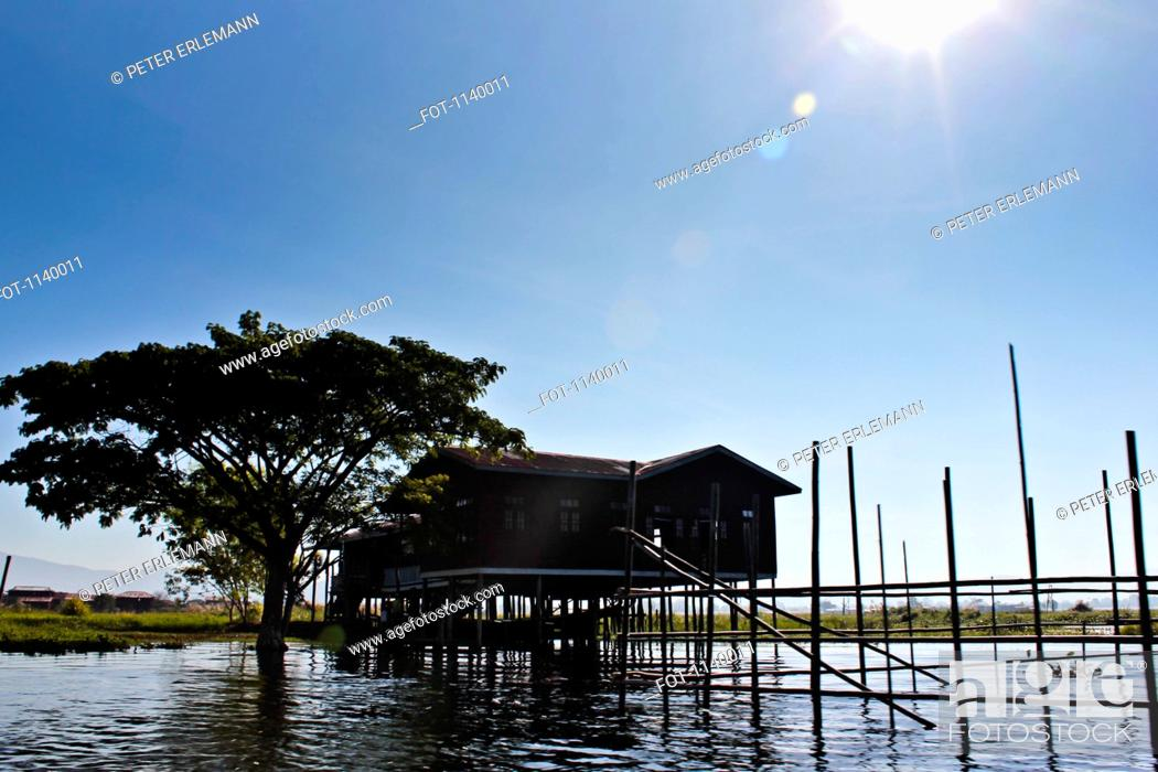 Stock Photo: A stilt house, Inle Lake, Burma.