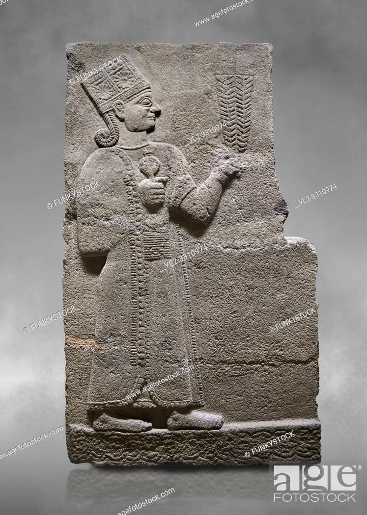 Stock Photo: Hittite relief sculpted orthostat stone panel of Long Wall Basalt, Karkamıs, (Kargamıs), Carchemish (Karkemish), 900-700 B. C.